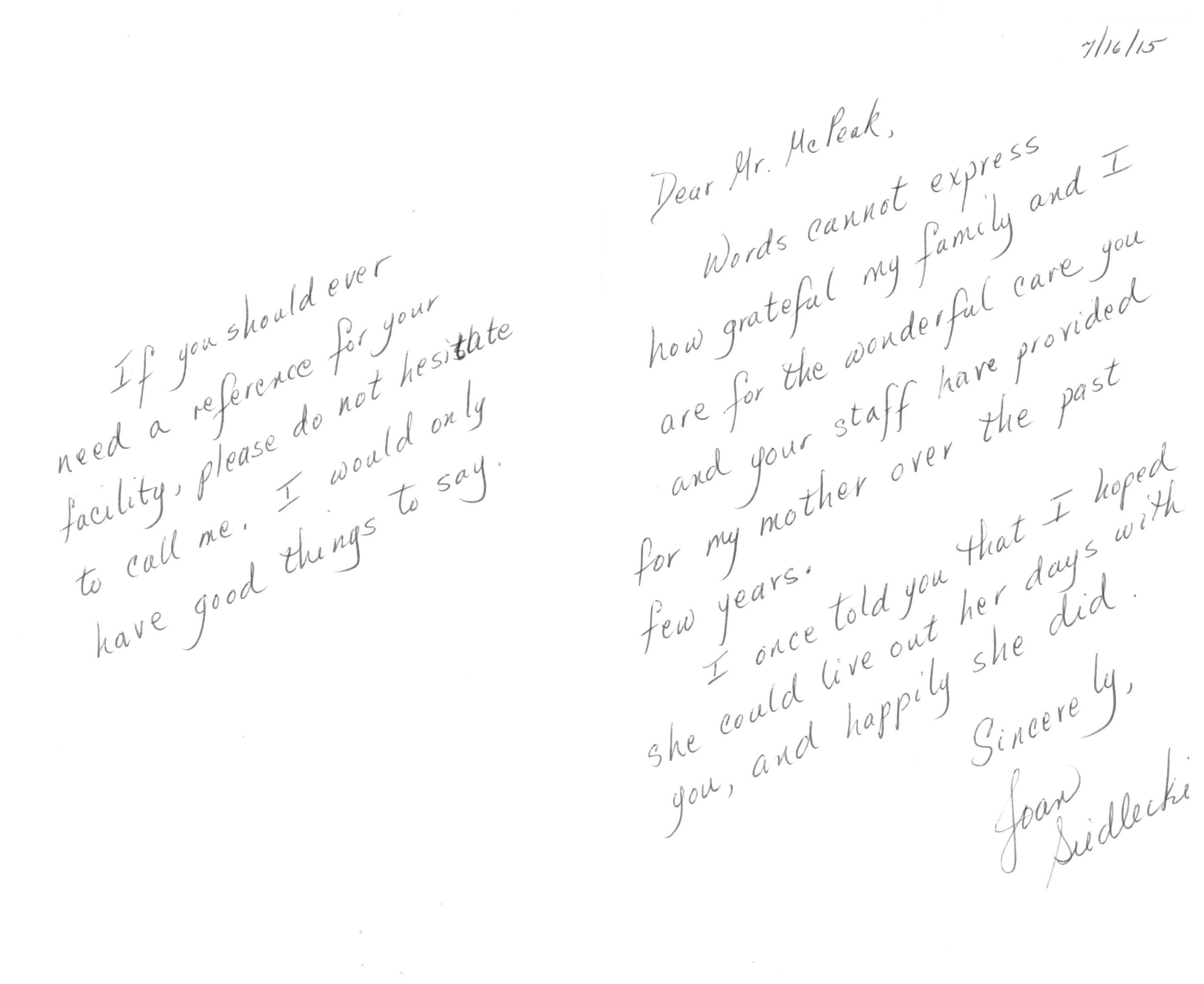 Testimonials mcpeaks assisted living long island new york view letter aljukfo Choice Image